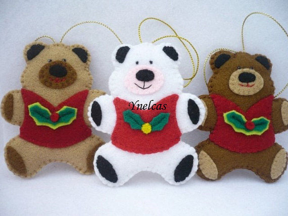 Bears, Felt Christmas Ornaments - Set of 3