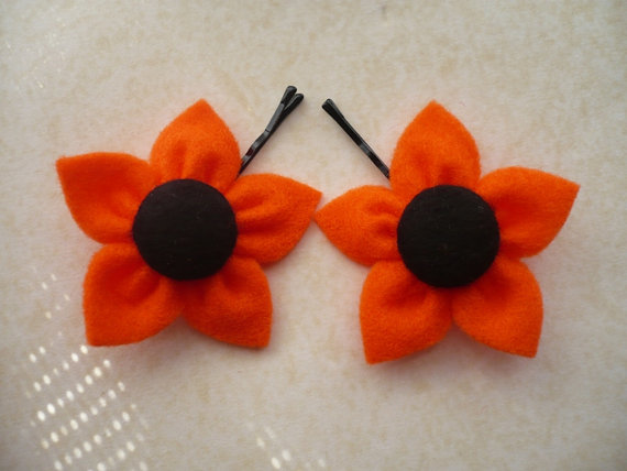 Orange Felt Flower, Hair Pins - Set of 2