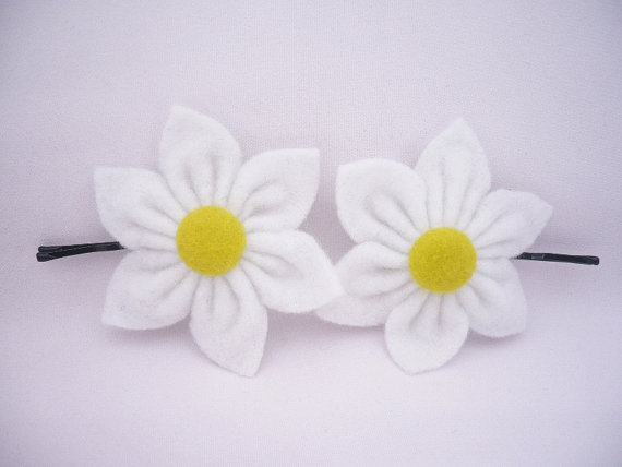 White Felt Flower, Hair Pins - Set of 2