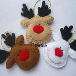 Felt Christmas Reindeer Patterns http://www.luulla.com/product/30035/snowman-felt-christmas-ornament---set-of-3