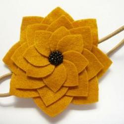 Felt Flower Headband, Mustard Felt Beaded Flower Headband