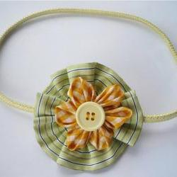 Fabric Headband with Pale Lemon  Rosette and Tiny Yellow flower