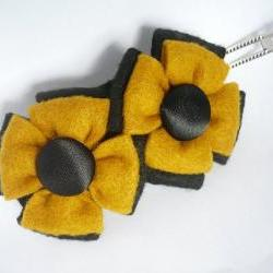 Barrette, Mustard and Black Felt Flower
